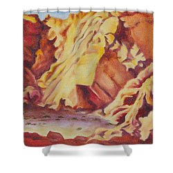 Shower Curtain featuring the painting Red Rocks by Michele Myers