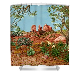 Shower Curtain featuring the painting Landscapes Desert Red Rocks Of Sedona Arizona by Katherine Young-Beck