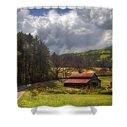 Red Roof Barn Shower Curtain by Debra and Dave Vanderlaan