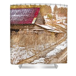 Red Roof In The Snow  Shower Curtain by Debra and Dave Vanderlaan