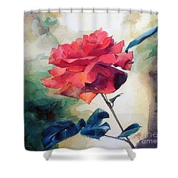 Shower Curtain featuring the painting Red Rose On A Branch by Greta Corens