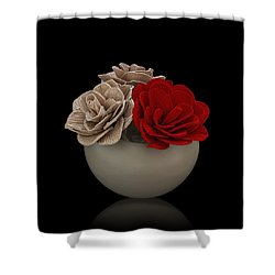 Red Rose Shimmer Shower Curtain by Rob Guiver