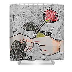 Red Rose Sketch By Jan Marvin Studios Shower Curtain