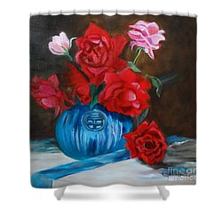 Red Roses And Blue Vase Shower Curtain