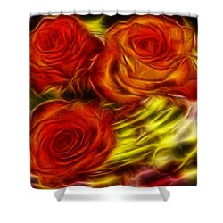 Shower Curtain featuring the painting Red Roses In Water - Fractal  by Lilia D