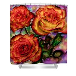 Shower Curtain featuring the digital art Red Roses In Water - Silk Edition by Lilia D