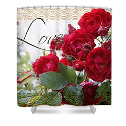 Shower Curtain featuring the photograph Red Roses Love And Lace by Sandra Foster