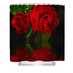Red Roses Reflected Shower Curtain by Joyce Dickens