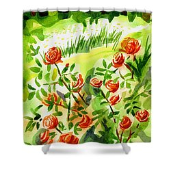 Red Roses With Daisies In The Garden Shower Curtain by Kip DeVore