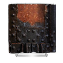 Red Rust Rivets Shower Curtain