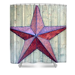 Red Rusted Star Shower Curtain by Holly Blunkall