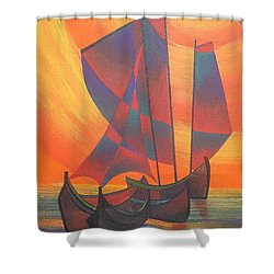 Shower Curtain featuring the painting Red Sails In The Sunset by Tracey Harrington-Simpson