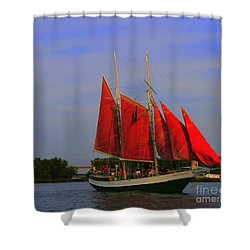 Red Sails Shower Curtain by Kathleen Struckle
