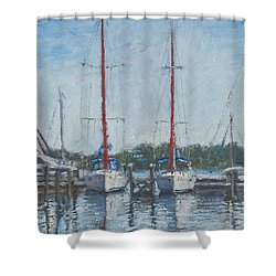 Red Sails Under Gray Sky Shower Curtain