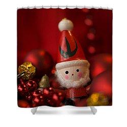 Red Santa Shower Curtain by Anne Gilbert