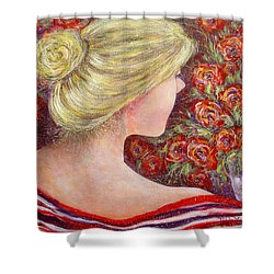 Shower Curtain featuring the painting Red Scented Roses by Natalie Holland