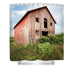 Shower Curtain featuring the photograph Red Shack On Tucker Rd - Vertical Composition by Gary Heller