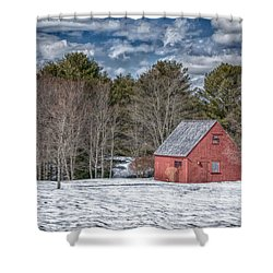 Red Shed In Maine Shower Curtain by Guy Whiteley