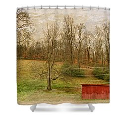 Red Shed Shower Curtain by Paulette B Wright