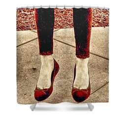 Red Shoes Shower Curtain by Kristina Deane