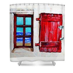 Red Shutter Ocean Shower Curtain by Jackie Carpenter
