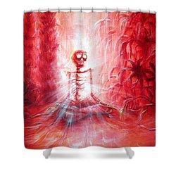 Red Skeleton Meditation Shower Curtain