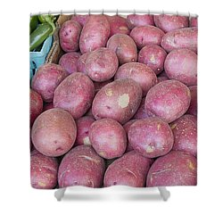 Red Skin Potatoes Stall Display Shower Curtain by Jit Lim