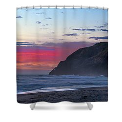 Red Sky At North Head Lighthouse Shower Curtain by Robert Bales