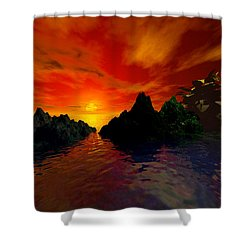 Shower Curtain featuring the digital art Red Sky by Kim Prowse