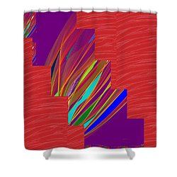 Shower Curtain featuring the photograph Red Sparkle And Blue Lightening Across by Navin Joshi