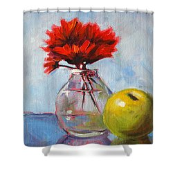 Red Still  Shower Curtain by Nancy Merkle