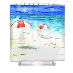Red Stripes Shower Curtain
