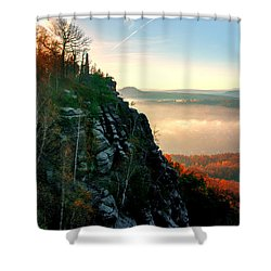 Red Sun Rays On The Lilienstein Shower Curtain