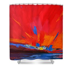 Red Sunset, Modern Abstract Art Shower Curtain