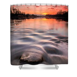 Red Sunset Shower Curtain by Davorin Mance