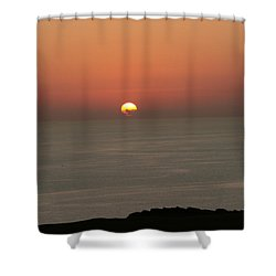 Red Sunset Over Sea Shower Curtain by Gordon Auld