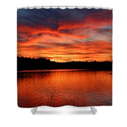 Red Sunset Reflections Shower Curtain