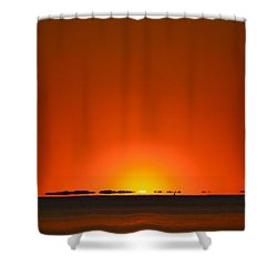 Shower Curtain featuring the photograph Red Sunset With Superior Mirage On Santa Rosa Sound by Jeff at JSJ Photography