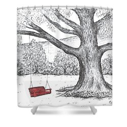 Red Swing Shower Curtain