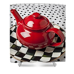 Red Teapot On Checkerboard Plate Shower Curtain by Garry Gay