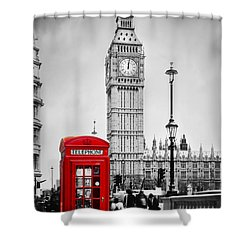 Red Telephone Booth And Big Ben In London Shower Curtain