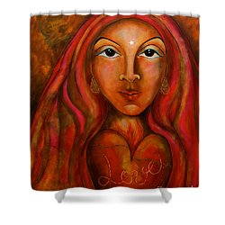 Red Thread Madonna Shower Curtain