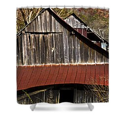 Red Tin Roof Shower Curtain by Debra and Dave Vanderlaan