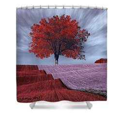 Shower Curtain featuring the painting Red Tree In A Field by Bruce Nutting