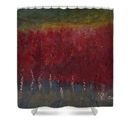 Red Trees Watercolor Shower Curtain