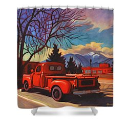 Shower Curtain featuring the painting Red Truck by Art James West