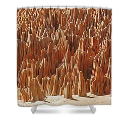 Shower Curtain featuring the photograph red Tsingy Madagascar 1 by Rudi Prott