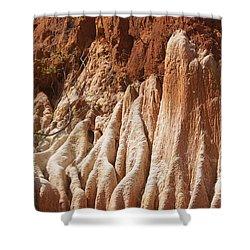 red Tsingy Madagascar Shower Curtain by Rudi Prott