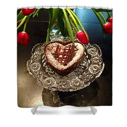Red Tulip And Chocolate Heart Dessert Shower Curtain