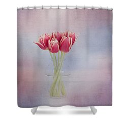 Red Tulip Still Life Shower Curtain by Kim Hojnacki